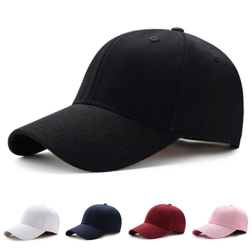 Gorra de béisbol con visera curvada Lisa para hombre y mujer gorras ajustables de moda de Color sólido