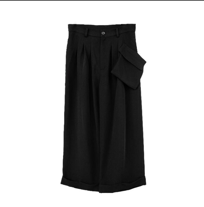 27-42 2019 new catwalk men clothing men's fashion casual pants hair stylist personality simple wide leg pants plus size