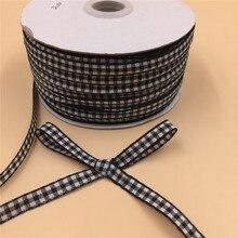 Matériel classique pour nœud de cheveux 20yards Lot 6mm   Noir/blanc carreaux ruban ruban, bricolage