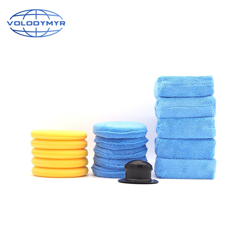 Waxing Kit 16pcs with Wax Applicator Microfiber Pad Blank Holder Sponge Block for Car Care Auto Cleaning Washing Polishing