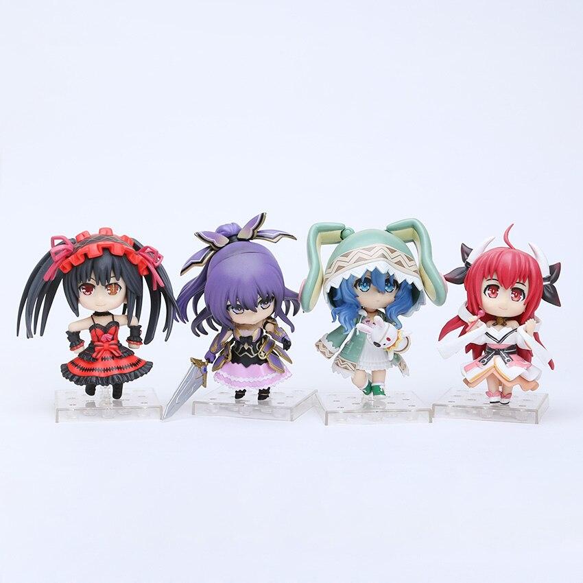 ¡En STOCK! 4 unids/set fecha una figura en vivo juguetes Tokisaki Kurumi Yoshino Tohka Yatogami Itsuka Kotori PVC figuras de acción Juguetes