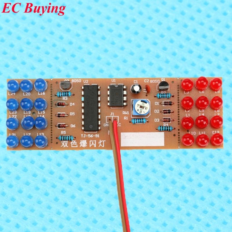 1 шт. красный синий двойной цвет мигающие огни DIY Kit стробоскоп NE555 + CD4017 сварные тренировочные доски обучения электронный набор