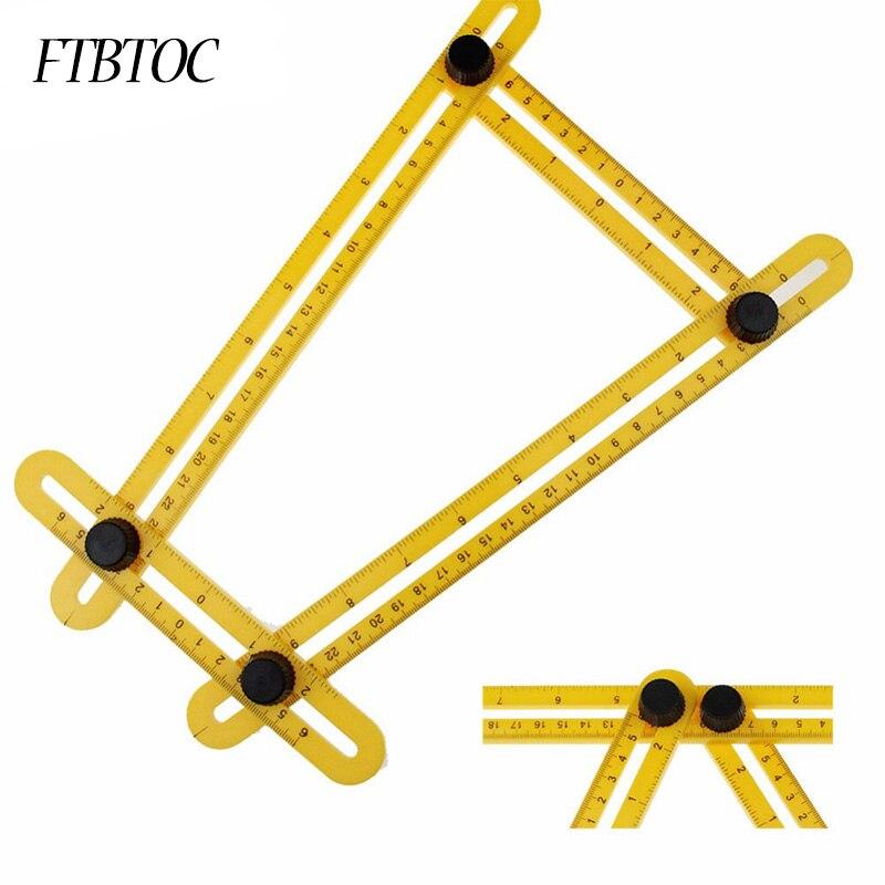 FTBTOC cuatro regla de plástico plegable instrumento de medición multifuncional mecanismo con reglas de cuatro lados herramienta cuadrada de 3 colores