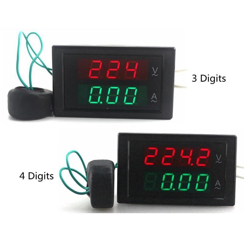 Цифровой амперметр, вольтметр переменного тока, амперметр, 80-300 в перем. Тока, 0-100 А, светодиодный вольтметр, измеритель напряжения, измерител...
