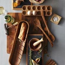Boîte de rangement dœufs en bois de Style japonais   Conteneur dœufs dacacia, support à œufs nordique, organisateur de cuisine, outils de décoration pour la maison, accessoires