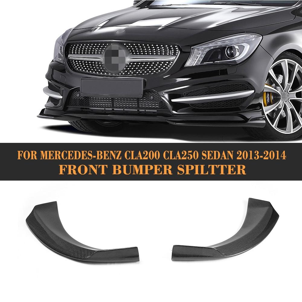 Carbon Fiber front bumper splitter car side splitters For Mercedes Benz C117 CLA250 CLA200 Sedan 4 Door 13-14 Non for AMG