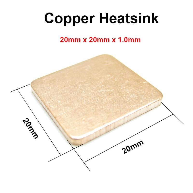 10pcs/lot 20x20x1.0mm DIY Copper Shim Heatsink thermal Pad Cooling for XBOX360 PS2 3 4 BGA CPU VGA Chip RAM IC Cooler Heat sink