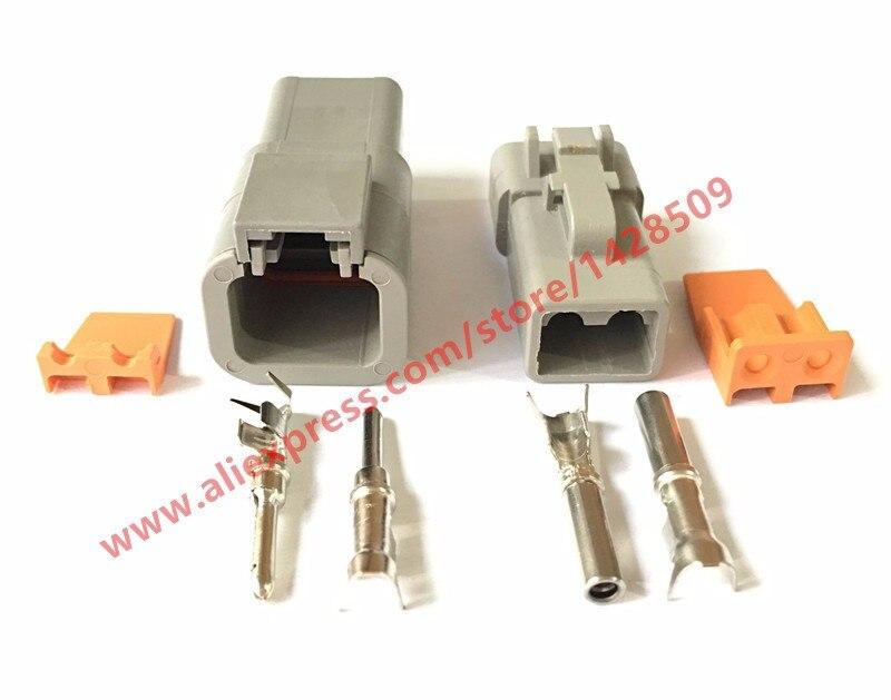 20 Sets Deutsch DTP gris 2 Pin macho hembra impermeable eléctrico conector Auto DTP06-2S DTP04-2P