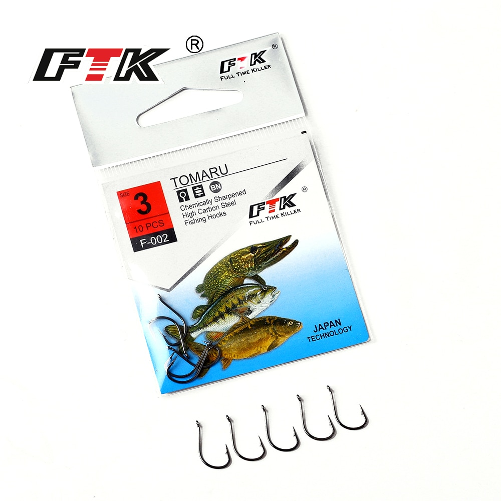 FTK Tomaru Size3 #-Size13 # Pesca Gancho Farpado Farpado Carpa Catfish Anzol Peche Japão Enfrentar