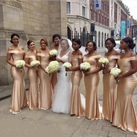 golden boat neck off the shoulder cournt train elastic satin bridesmaid dresses silk wedding party gowns