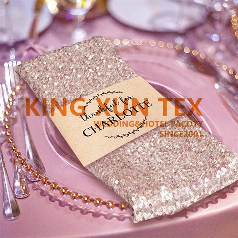 Oro lentejuelas plata Mesa servilleta mantel de mesa servilletas para boda decoración de la fiesta