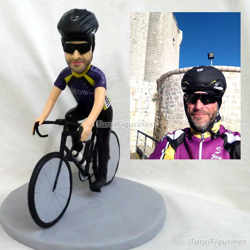 Estatuilla de Deportes de bicicleta de ciclismo, diseño en miniatura, regalos de cumpleaños, idea única de turui figurines arte Hecho A Mano diseño de estatua