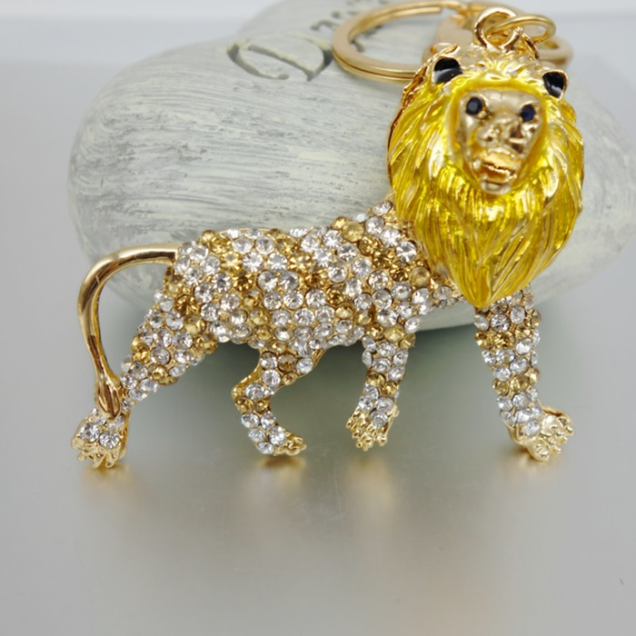 Adojewello Jewelry Free Shipping Rhinestone Crystal Serious Lion Keychain Keyring For Car Handbag Chram Key Holder Wholesale
