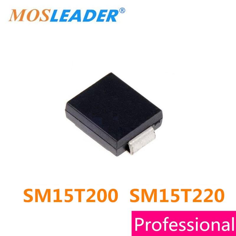 Mosleader SM15T200 SM15T220 SMC 850 piezas DO214AB chino SM15T200A SM15T200CA SM15T220A SM15T220CA televisores de alta calidad
