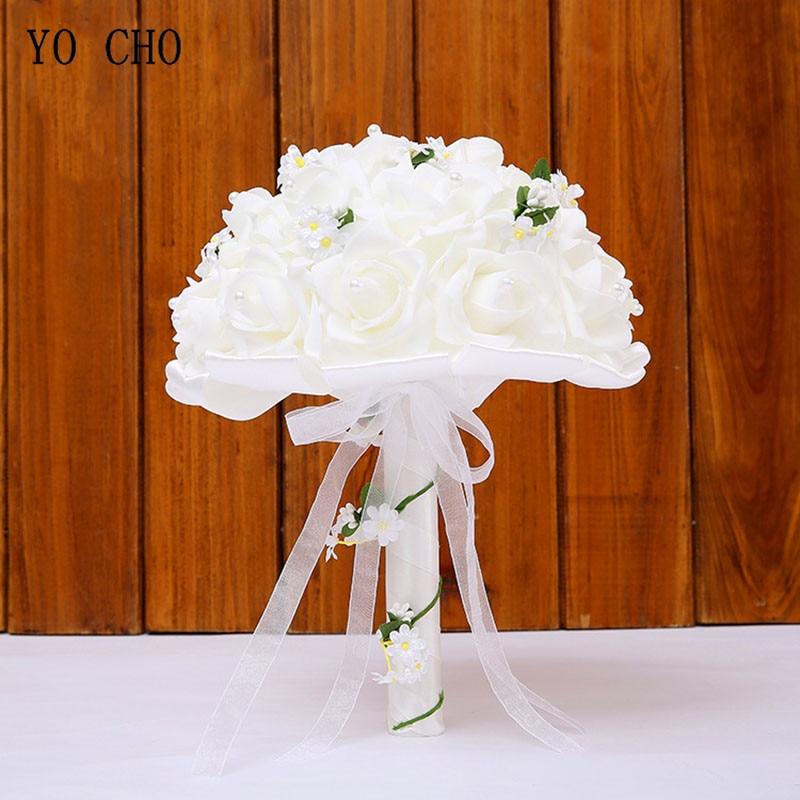 Ramo de novia de la boda de la YO CHO rosas de espuma de seda blanca boda damas de honor ramos de flores artificiales suministros de boda Ramos