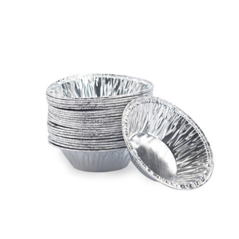 100 unids/set molde redondo para Tartas, herramientas de pastelería, tartas de molde para papel de aluminio, tarta de huevo portugués