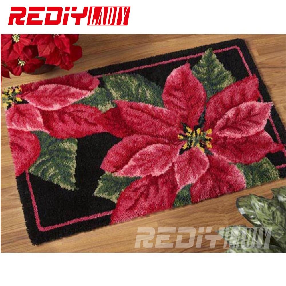 DIY Teppich Teppich Rote und Grüne Blätter 3D Latch Haken Teppich Häkeln Tapisserie 100% Acryl Garn Kissen Set für Stickerei boden Matte