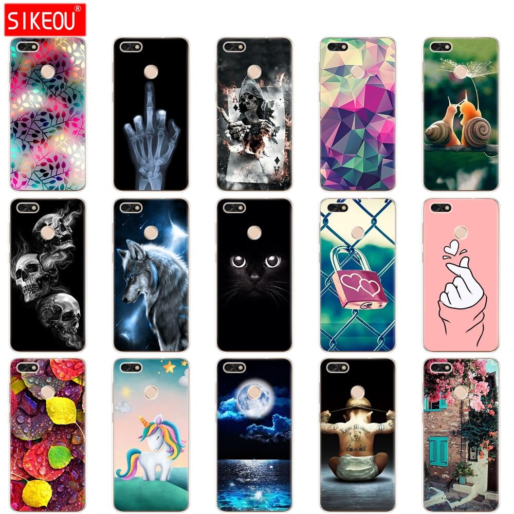 Silicon for Huawei P9 Lite Mini Case Cover Soft TPU Huawei Nova lite 2017 SLA-L22 Case Back Huawei Y6 Pro 2017 Case Cat flower