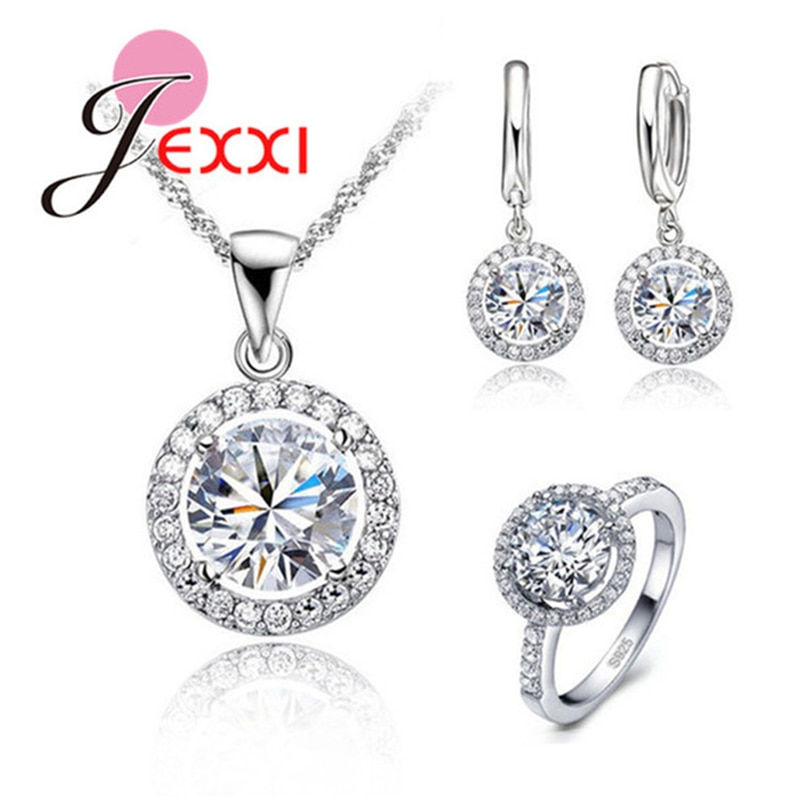 925 Sterling Silver Necklace Earrings Rings Bridal Jewelry Sets For Women 2020 Luxury Cubic Zirconia
