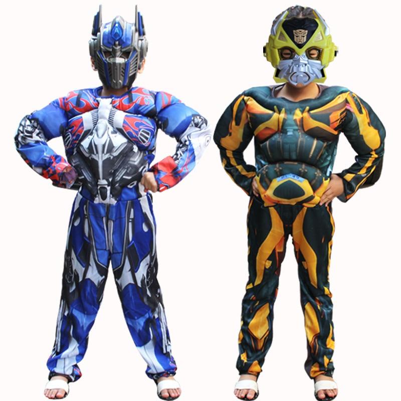 Nuevo Optimus Prime Bumblebee superhéroe traje de cuerpo completo carnaval disfraces de niños niñas disfraz de músculo para niños