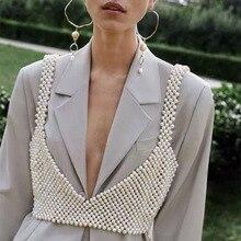 M MISM 2020 Neue Mode Gestrickte Perlen Crop Top Frauen Exquisite Sexy Draußen Perlen Tank Tops Camis Vadim Streetwear Kleidung