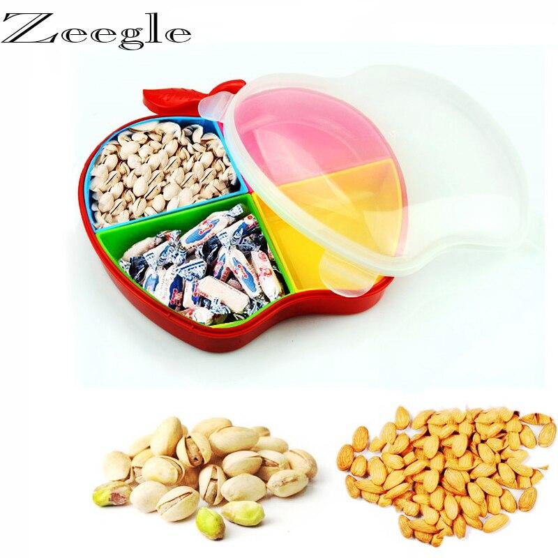 Caja de almacenaje con forma de manzana, envío gratis, para dulces, cacahuetes, organizador, envase de aperitivos, 4 compartimentos de sellado, cajas de almacenamiento de alimentos