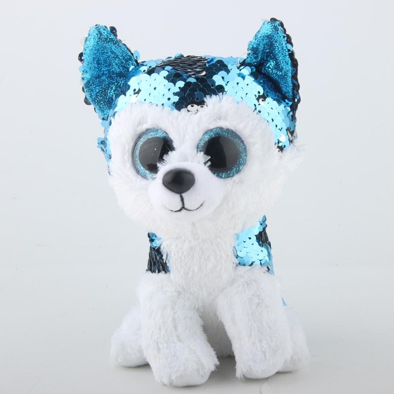 Ty Sequins Flippables 15cm Slush The Husky Dog Sequin Plush Regular Stuffed Animal Collection Soft Big Eyes Doll Toy