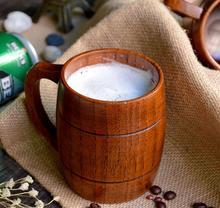 Tasses en bois de bière de tasse en bois naturelle de Style classique de 350ml buvant pour des cadeaux de nouveauté de partie qui respecte lenvironnement