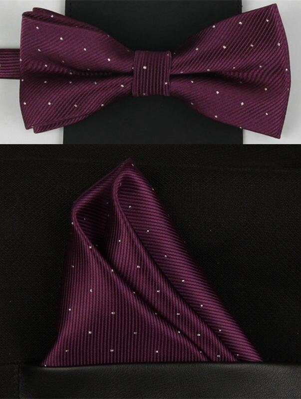 SHENNAIWEI 2016 Новый Модный мужской галстук-бабочка в горошек и носовой платок Набор Свадебные украшения мужской галстук-бабочка