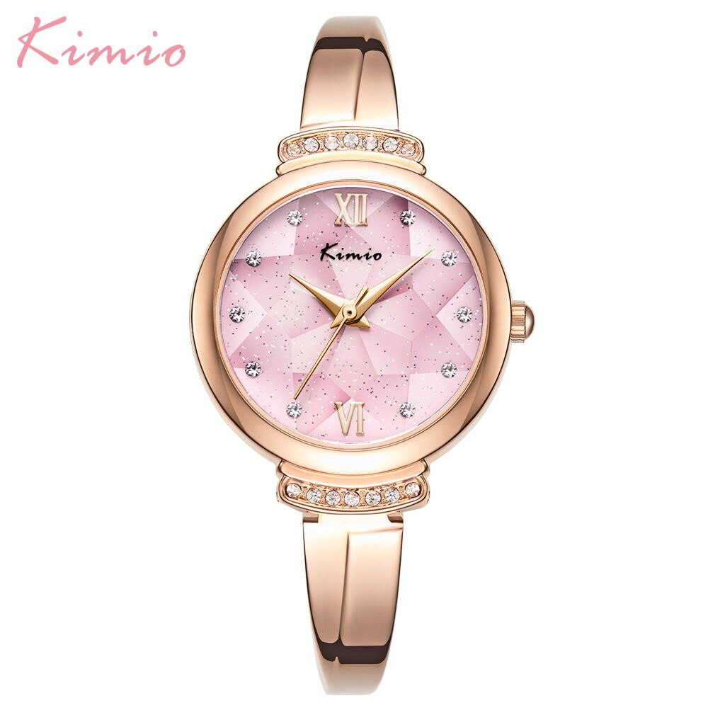 KIMIO-ساعات كوارتز نسائية مرصعة بالألماس ، ساعات يد نسائية فاخرة ، سوار من الفولاذ المقاوم للصدأ ، هدية