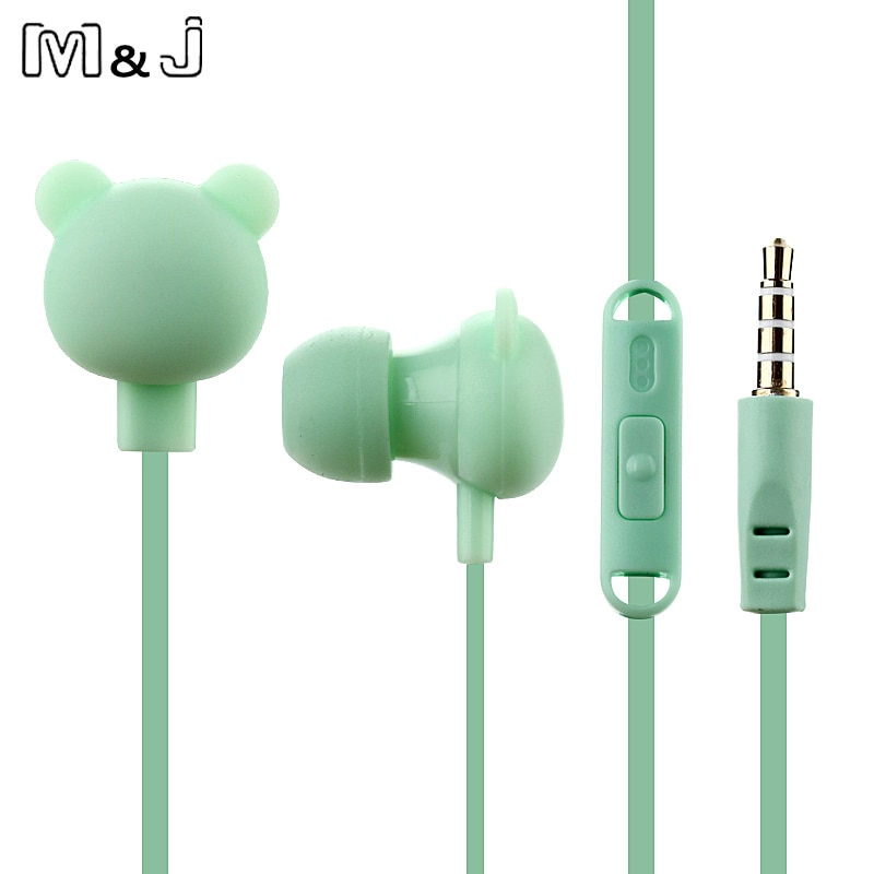Lindo auricular de dibujos animados de 3,5mm en el oído con cable auricular con micrófono remoto oso auricular para iPhone Samsung xiaomi para niños regalo chica