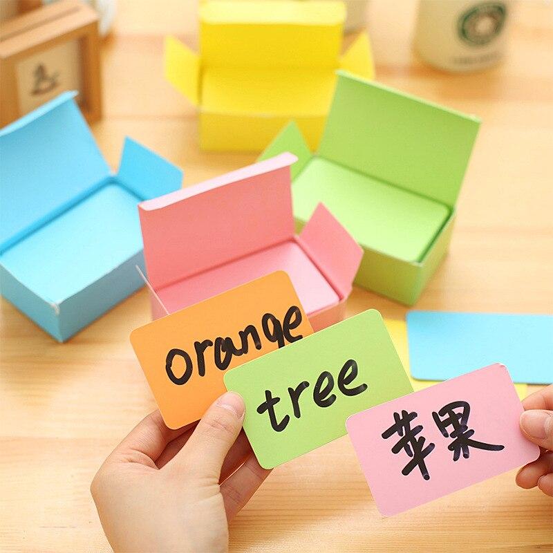 100 unids/caja pequeña mini Tarjeta de papel kraft blanca colorida Oficina Mensaje de negocios nota Bloc de notas suministros papelería al por mayor