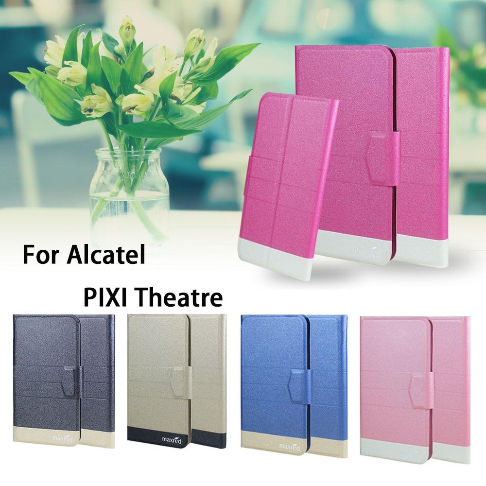 ¡5 colores súper! Para Alcatel PIXI Theatre funda de teléfono de cuero con tapa completa, accesorios de lujo para teléfono de alta calidad