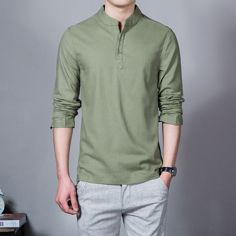 2020 Summer Newest Men Linen Solid color t shirt Fashion Casual Slim Breathable Cool Long sleeves t-shirt Business Jobs t-shirt