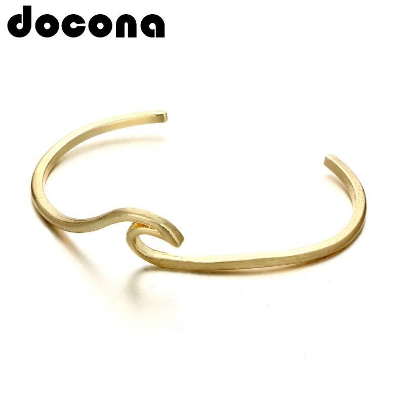 Pulsera con olas bohemias docona, brazalete para mujer, chica, Color dorado, Metal, Ocean Surfer, pulseras, joyería de declaración, pulseras 4993