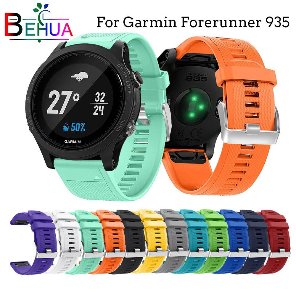 22mm para garmin forerunner 935 pulseira de relógio inteligente com liberação rápida silicone easy-fit pulseira de pulso para fenix5 5 plus substituição
