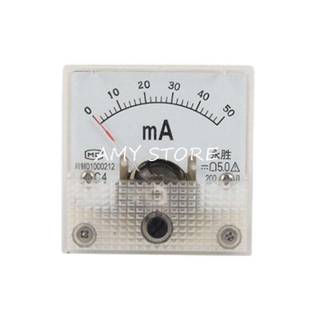 Carcasa de plástico DC 0-50mA medidor analógico Mini amperemetro