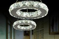 LED Transparent k9 Crystal pendant lamp for Aisle Porch Hallway 20CM Crystal Ring dining light wth LED Light Bulb 110-220V