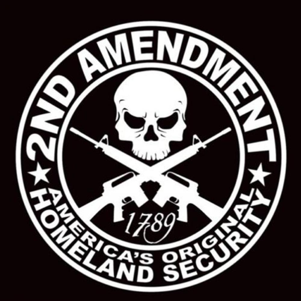 SEKINNEW 2ND pistola de enmienda vinilo autoadhesivo calcomanías accesorios de estilo de coche motocicleta diámetro 15cm en forma de calavera para coche calcomanía