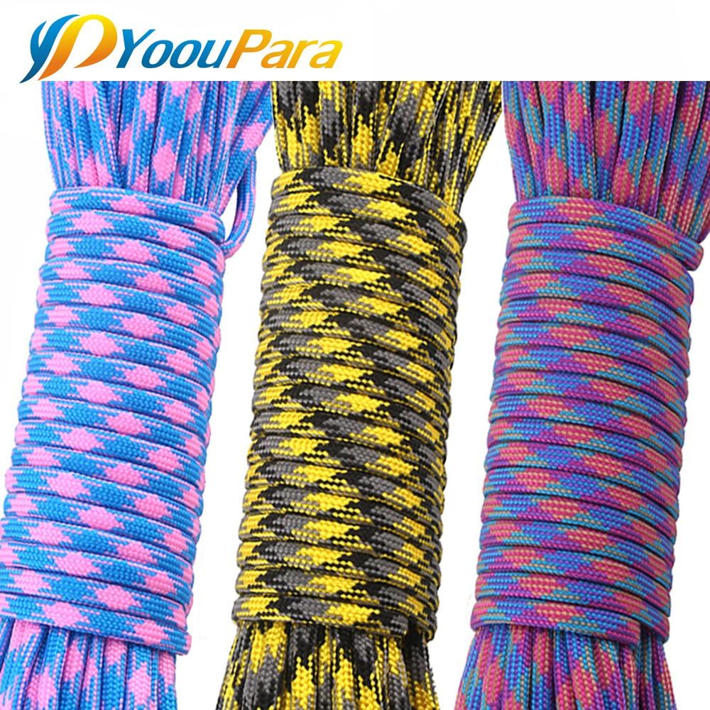 YoouPara 25 pies * 30 Uds Paracord 550 7 Stands cuerda de paracaídas Paracord para supervivencia de acampada o pulsera DIY etc al por mayor