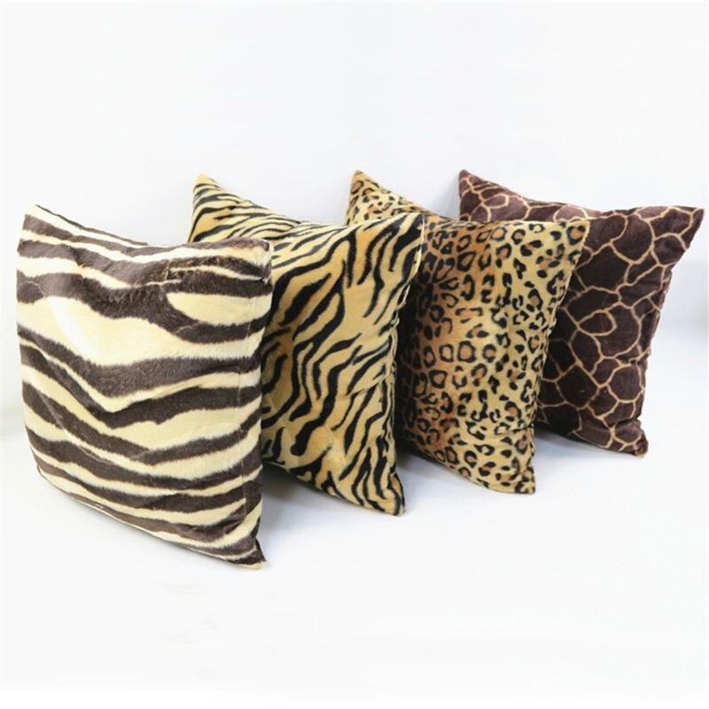 Плюшевая подушка с изображением животных зебры, оленя, тигра, леопарда, наволочка для домашнего декора 30/40x40/45/50/60