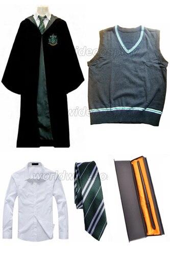 شحن مجاني Slytherin تأثيري رداء سترة قميص ربطة العنق Draco Malfoy العصا السحرية لجميع القديسين وعيد الميلاد