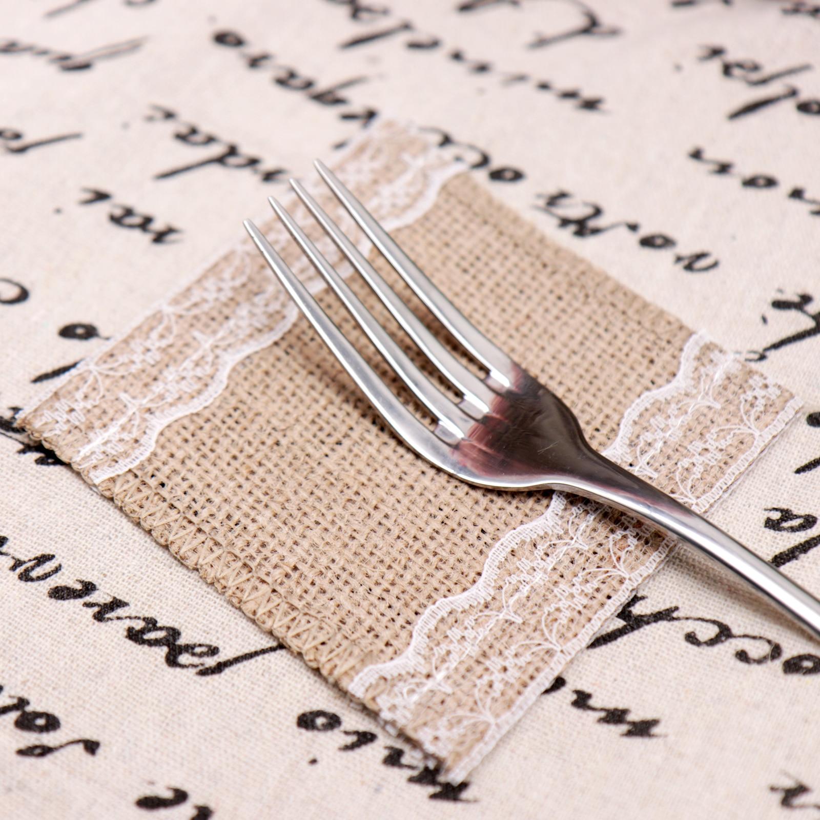 Doğal Rustik Hessen Çuval Dantel yemek masası Mat Placemat Fincan Içecekler Bardak Ped masa süsü Düğün Parti Yemek Dekor