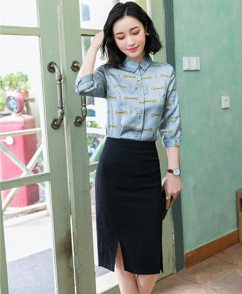 Camisas de verano para mujer, trajes de trabajo para mujer, de 2 piezas conjuntos de falda y Tops, blusas de estampado azul, blusas de media manga, estilos de uniformes de oficina