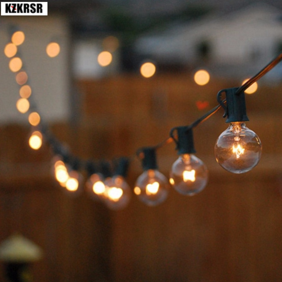 led Wedding light 3M 7.5M G40 Globe Bulb christmas Lights outdoor With Clear Ball Bulbs Hanging Umbrella christmas Lights indoor