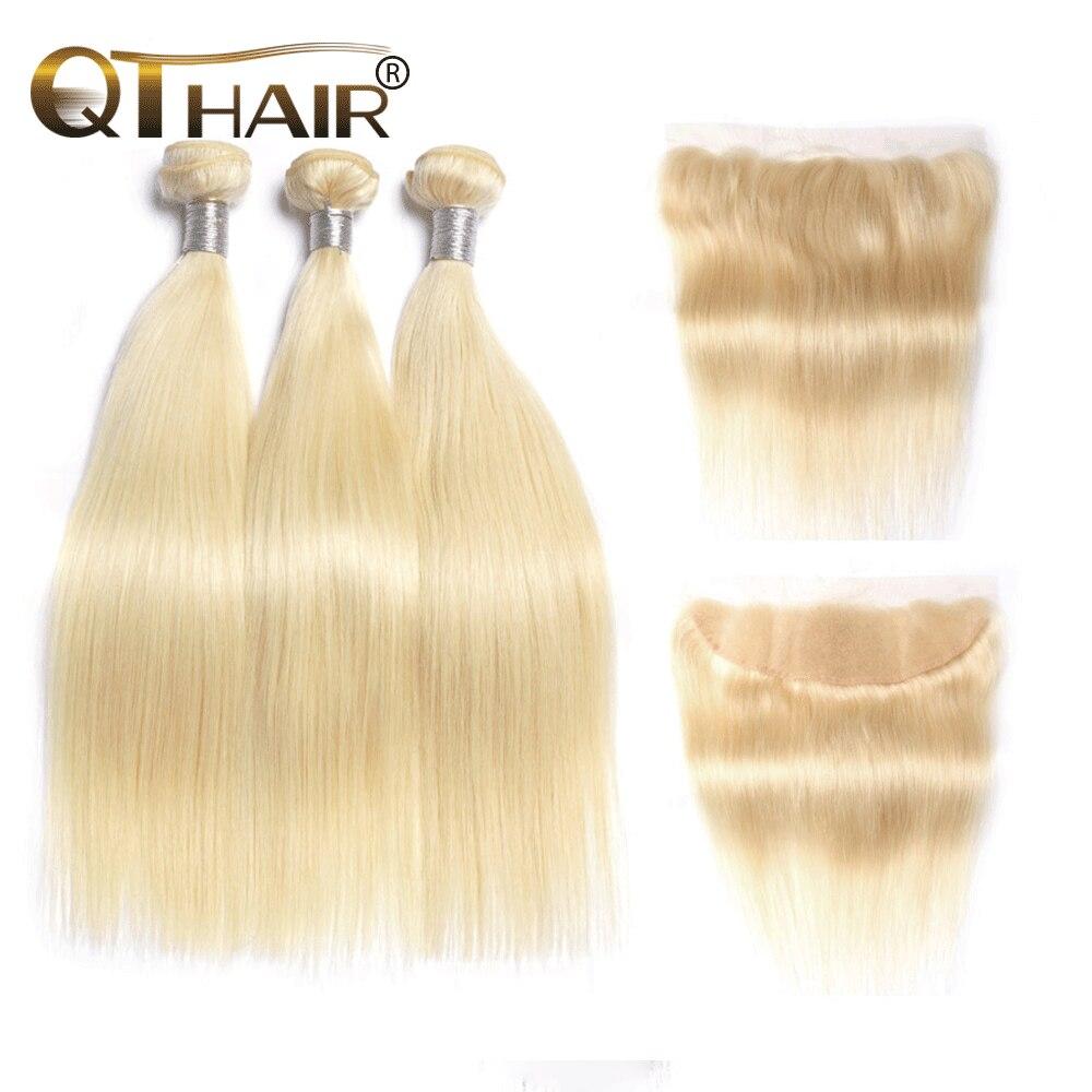 613 блонд, пучки с фронтальным ухом на ухо, прямые пучки натуральных волос, белокурые малайзийские волосы, 3 пучка с закрыванием, QT