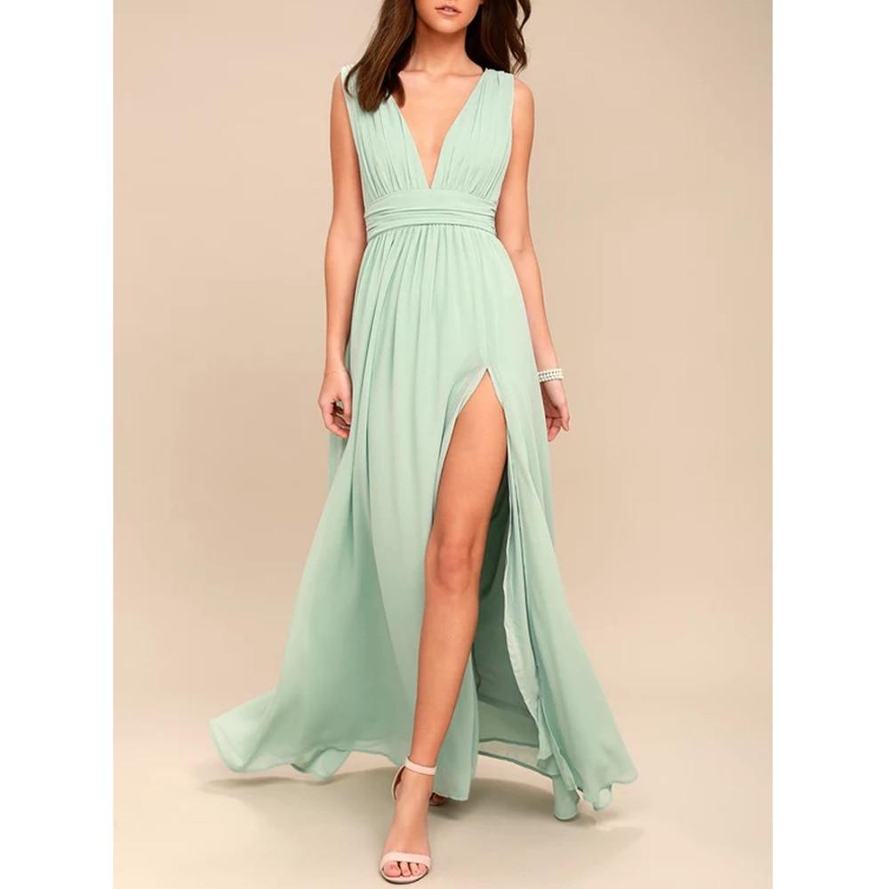 AliExpress - Women Long Maxi Dresses Bohemia V-neck Sleeveless Sexy Party Ethnic Fall Beach Female Split Stylish Style Dress