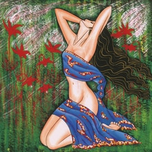 Affiches géantes de décor artistique   Tableau de portrait, toile abstraite moderne, jupe bleue, pour fille, décor artistique mural, peinture à la maison