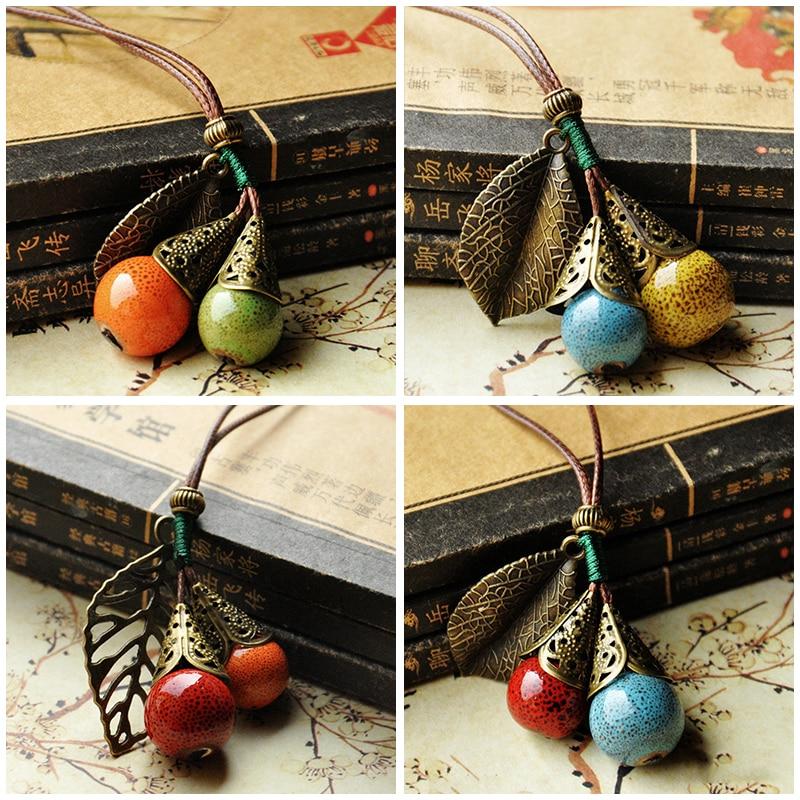 Cadena larga de cuerda de cuero colgante de bola de cerámica collar de cadena de suéter Vintage gargantilla para mujer Ropa Accesorios de joyería regalo