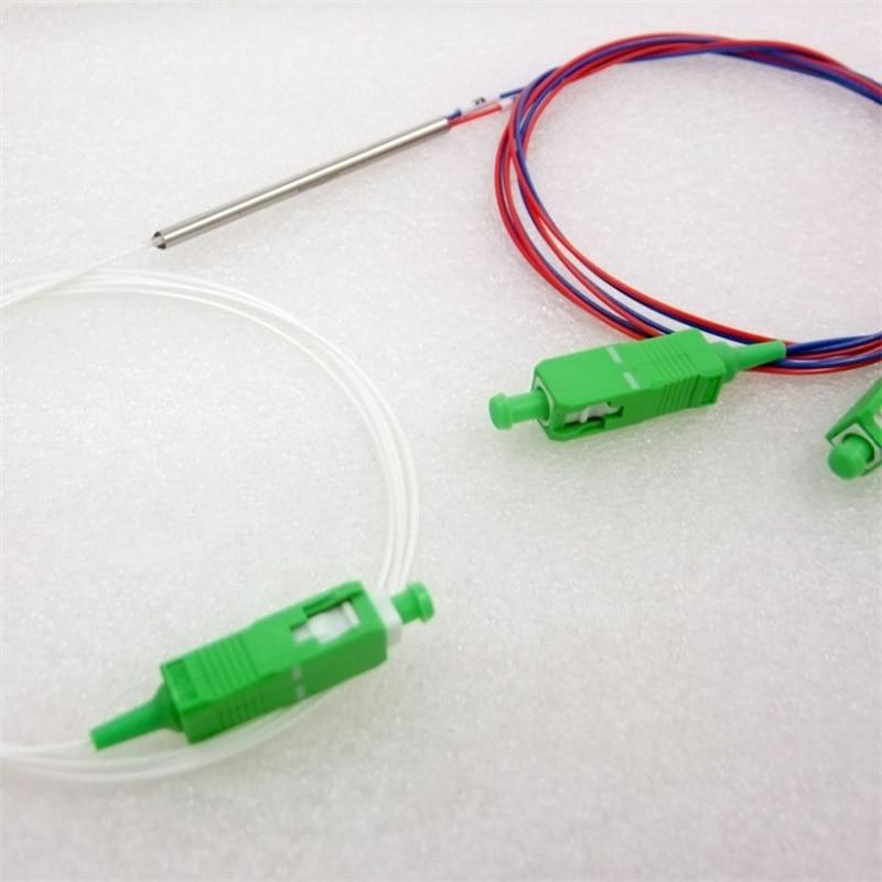 10pcs Großhandel Neue 0,9mm SM Stahl Rohr 1x2 Mini SC/APC 2 Ports Fiber Optic FBT Splitter Unsymmetrische 15/85 25/75 1/99